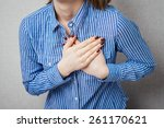 pain in the heart of a woman.... | Shutterstock . vector #261170621