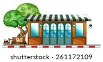 dogs staying outside the... | Shutterstock .eps vector #261172109