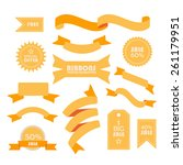 set of yellow ribbons   labels. ... | Shutterstock .eps vector #261179951