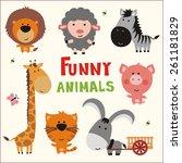 funny animals set  vector... | Shutterstock .eps vector #261181829