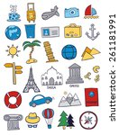 set of travel doodles | Shutterstock .eps vector #261181991