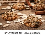 cookies with pumpkin seeds and... | Shutterstock . vector #261185501