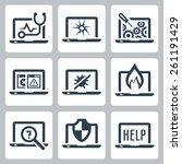 laptop tech service icon set | Shutterstock .eps vector #261191429