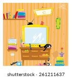 untidiness in the room | Shutterstock .eps vector #261211637