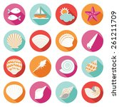 Sea Shell Flat And Summer Icon...