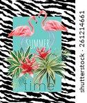 exotic tropic bird pink...   Shutterstock .eps vector #261214661