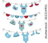 baby boy shower set | Shutterstock .eps vector #261214901