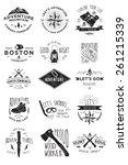 hand drawing adventure badges... | Shutterstock .eps vector #261215339