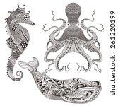 zentangle stylized octopus ... | Shutterstock .eps vector #261220199