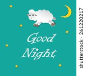 sheep sleeping and good night... | Shutterstock .eps vector #261220217