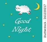 sheep sleeping and good night...   Shutterstock .eps vector #261220217
