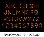 neon alphabet and numbers | Shutterstock . vector #261224609