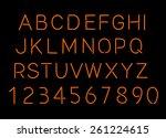 neon alphabet and numbers vector | Shutterstock .eps vector #261224615