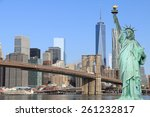 brooklyn bridge and the statue... | Shutterstock . vector #261232817