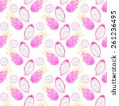 dragon fruit or pitahaya.... | Shutterstock .eps vector #261236495