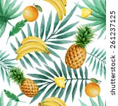 exotic fruits  seamless pattern ... | Shutterstock .eps vector #261237125