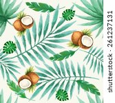 exotic fruits  seamless pattern ... | Shutterstock .eps vector #261237131