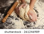 Making Dough By Female Hands O...