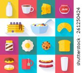 set of colorful breakfast icons ... | Shutterstock .eps vector #261250424
