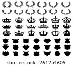 black silhouettes of crowns ... | Shutterstock .eps vector #261254609