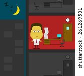 working overtime alone at night ... | Shutterstock .eps vector #261269531