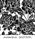 seamless pattern peony flower... | Shutterstock .eps vector #261273251