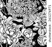 seamless pattern flower black   ...   Shutterstock .eps vector #261276971