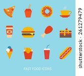 vector set of fast food icons | Shutterstock .eps vector #261279479
