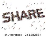 large group of people seen from ... | Shutterstock . vector #261282884