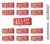 set of red peeling retail... | Shutterstock .eps vector #261286067
