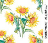 sunflowers vector pattern... | Shutterstock .eps vector #261286967