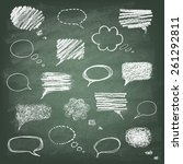 set of hand drawn doodle chalk... | Shutterstock .eps vector #261292811