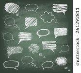 set of hand drawn doodle chalk... | Shutterstock .eps vector #261292811
