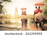 tourists riding elephants in... | Shutterstock . vector #261294905