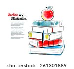 Red Apple On Books. Vector...