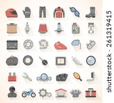 flat icons   motorcycle gear... | Shutterstock .eps vector #261319415