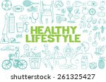 hand drawn about healthy... | Shutterstock .eps vector #261325427