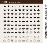100 basic crown icons set ....