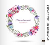 watercolor wreath with flowers... | Shutterstock .eps vector #261339365