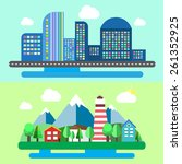 colorful set of urban and rural ... | Shutterstock .eps vector #261352925