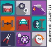 car repair icons set with... | Shutterstock .eps vector #261354311