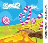 sweet candy land with  lollipops | Shutterstock .eps vector #261358091