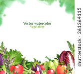 watercolor vector vegetables... | Shutterstock .eps vector #261364115