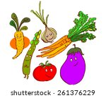 vegetables drawn with smile. a... | Shutterstock .eps vector #261376229