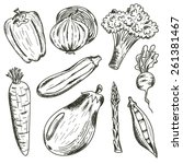 vegetables set on white... | Shutterstock .eps vector #261381467