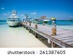 Sea Boats At The Contoy Island...