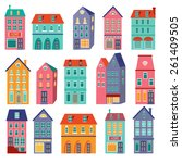 colorful houses collection.... | Shutterstock .eps vector #261409505