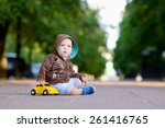 1 year baby sitting on the... | Shutterstock . vector #261416765