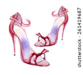 Watercolor Women's Shoes. Vector