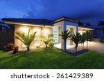 well lit modern home exterior... | Shutterstock . vector #261429389
